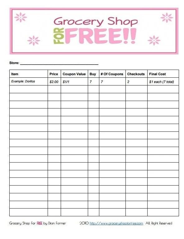 FREE Printable Coupon Grocery Shopping List