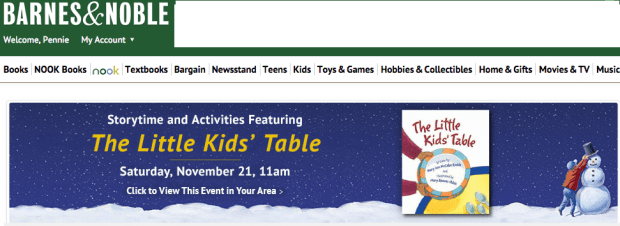 FREE Little Kids' Table Storytime at Barnes & Noble On Saturday, 11/21!