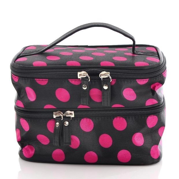 Black and Pink Polka Dot Double Layer Cosmetic Bag $3.30 + $1 Shipping!