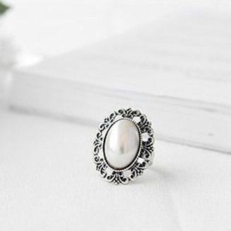 Carved Flower Imitation Pearl Adjustable Stretch Ring