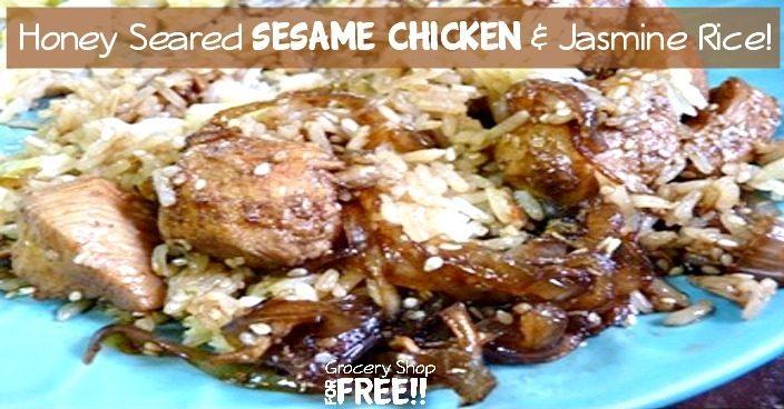 Honey Seared Sesame Chicken And Jasmine Rice!