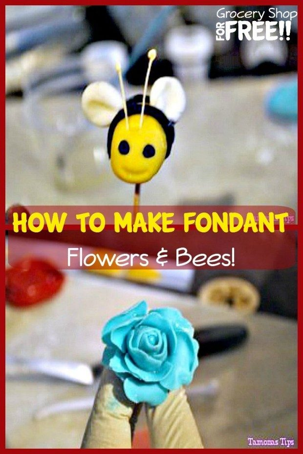 How To MAke Fondant Flowers & Bees! pin
