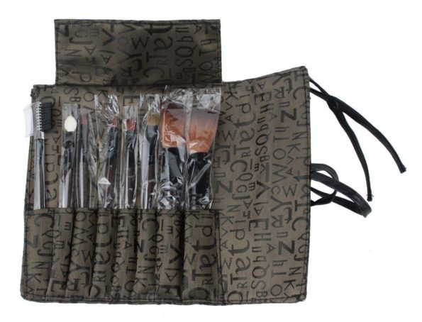 Makeup Brushes Set Kit With Brown Letter Print Case