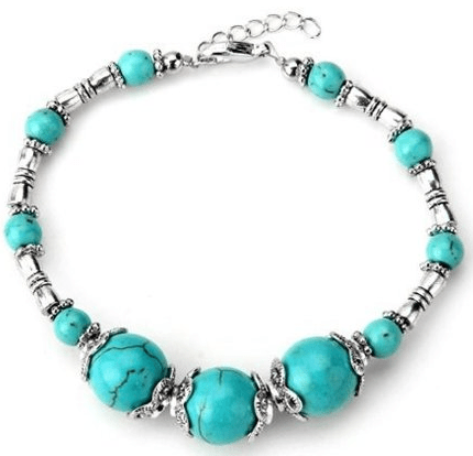 turquoise and silver beaded bracelet