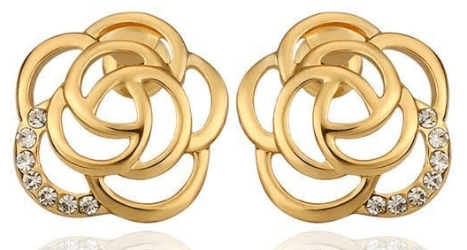 Gold Plated & CZ Floral Petal Stud Earrings Just $6.99! Down From $199.99! Ships FREE!