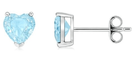 Sterling Silver 5MM Heart Cut Aquamarine Studs Only $5.99! Down From $99.99! Ships FREE!