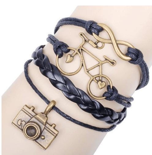 trendy leather charm bracelet