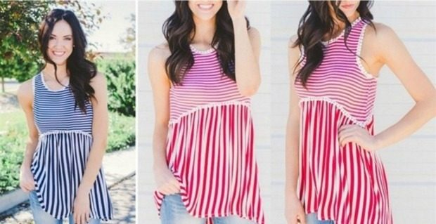 Striped Tank with Pom Pom Trim