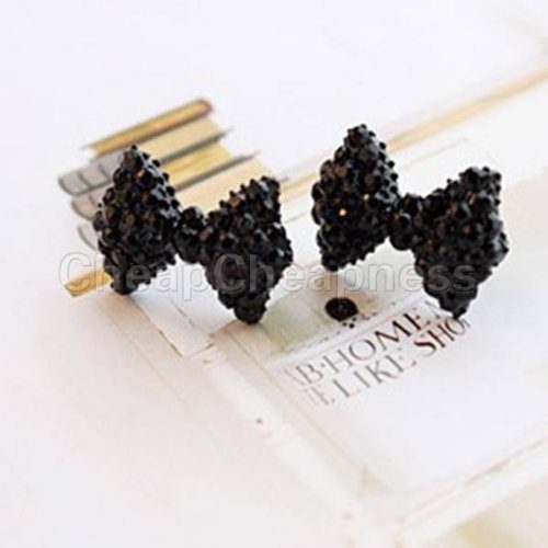 Black Crystal Bow Earrings Only $2.79 + FREE Shipping!