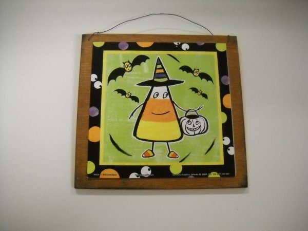candy corn trick or treating wooden sign