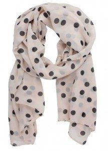 chiffon pink and black polka dot scarf