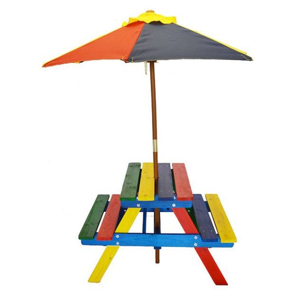 Kids Rainbow Picnic Table With Umbrella Only $68!