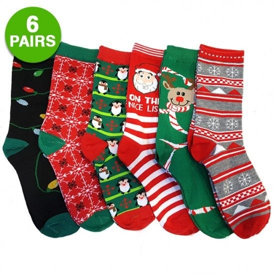 6-pack: Christmas Style Assorted Socks Only $6.99!