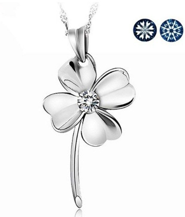 4 Leaf Clover of Faith, Hope, Love, Luck Crystal Sterling Necklace Just $3.68 Shipped!