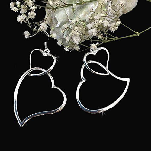 Sterling Silver Double Heart Dangle Earrings Just $9.99!  Ships FREE!