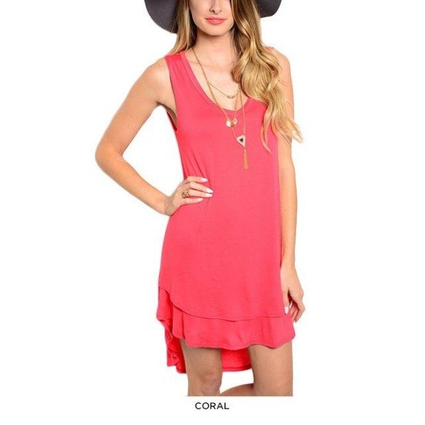 Sleeveless Knit Dress With Double-Layered Hi-Lo Hem Only $21 Shipped!