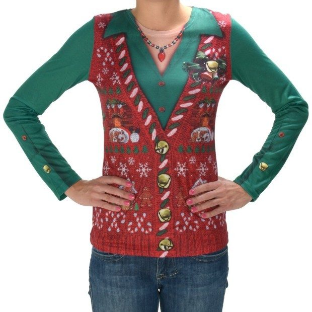 Faux Real women's Ugly Christmas Cardigan Long Sleeve T-Shirt