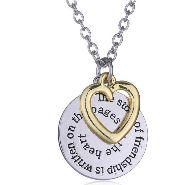Disc and Heart Friendship Necklace Only $4.69! Ships FREE!