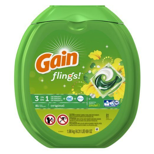 Gain Flings Original Laundry Detergent Pacs 81 Ct Only $17.97!