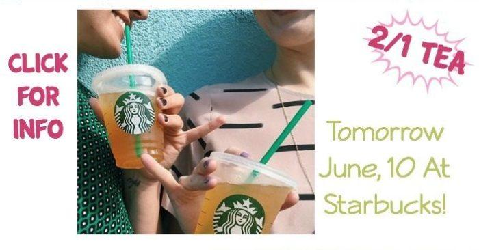 June 10 Only - Tea 2 For 1 At Starbucks!
