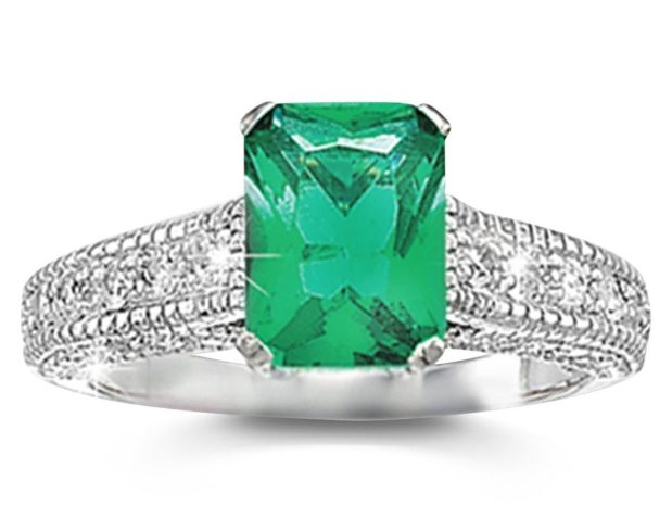 Simulated Emerald and CZ Avenue Solitaire Ring Only $9.99! Ships FREE!