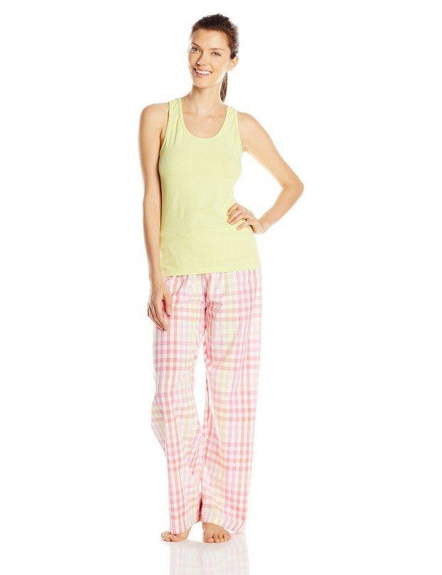 Hanes Women's Ladies Tank with Woven Sleep Pant Pajama Set Only $11.67!
