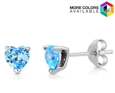 Sterling Silver & Simulated Gemstone Heart Studs Just $4.99!  Ships FREE!