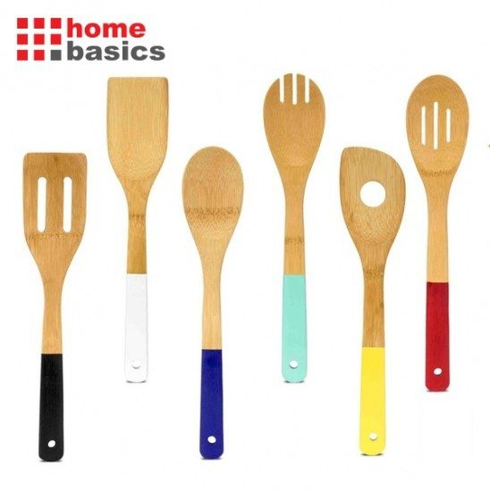 6 Piece Set: Home Basics Bamboo Kitchen Tools with Colored Handles Just $9.99 Down From $29.99 At GearXS! Ships FREE!