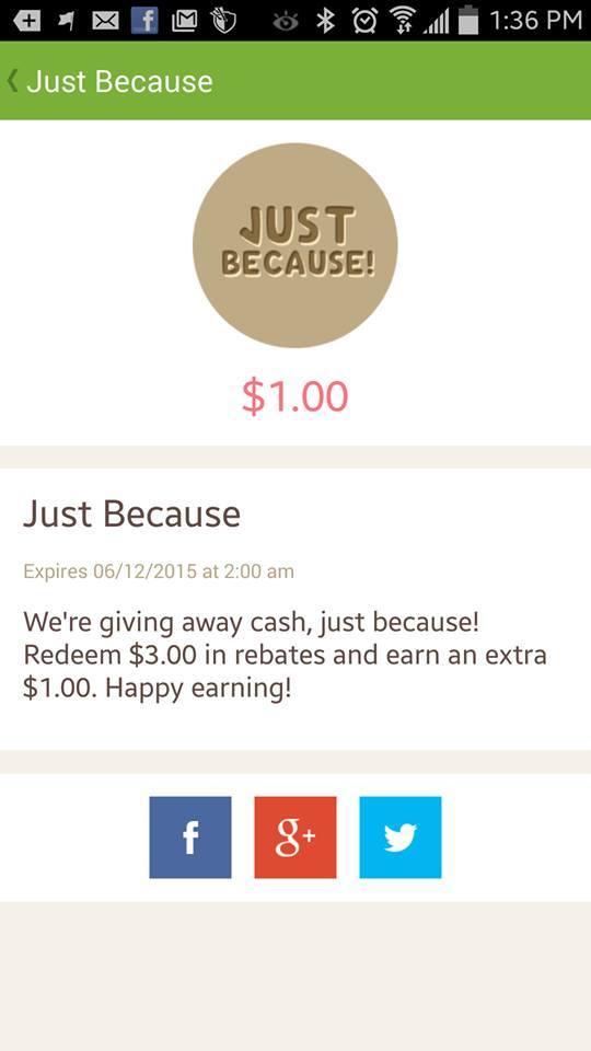 New Ibotta Bonus: $1 Just Because!