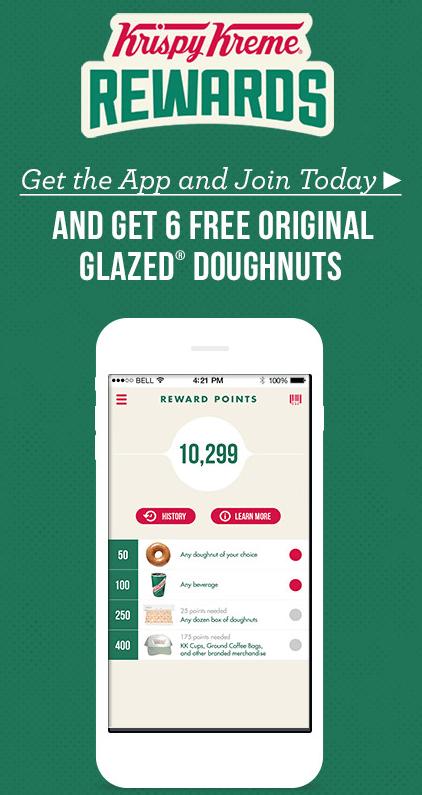 6 FREE Original Glazed Krispy Kreme Doughnuts!
