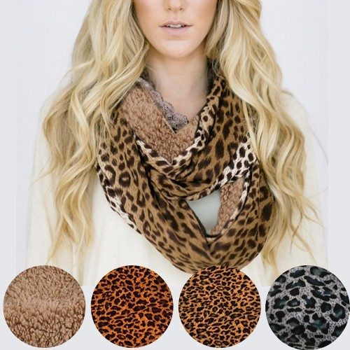 Leopard Print High Quality Infinity Sherpa Fashion Scarves Just $6.99 Down From $40.99 At GearXS! Ships FREE!