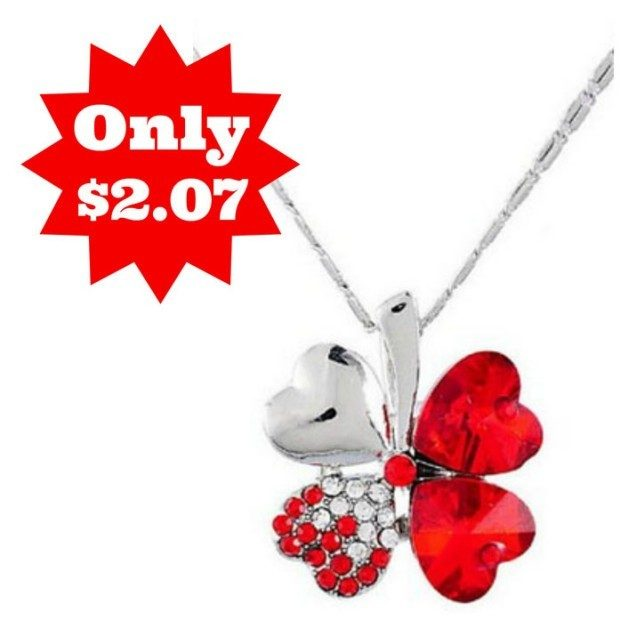Lucky Clover Crystal Necklace Only $2.07 + FREE Shipping!