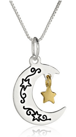 "Two-Tone ""I Love You To The Moon And Back"" Moon And Star Pendant Necklace, 18"" Just $15 Down From $65!"