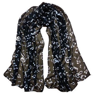 musical note chiffon scarf