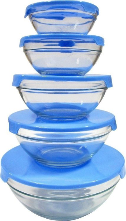 5 Glass Nested Dipping / Storage Bowls With Blue Lids Only $9.99!  (Reg. $20)