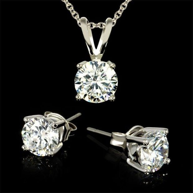 Twinkling 3 Carat Total Weight CZ Necklace & Earrings Only $8 Shipped!