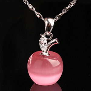 Pink Apple Cat's Eye Crystal Pendant Only $3.77 Plus FREE Shipping!
