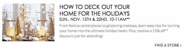 FREE Decorating Class At Pottery Barn!