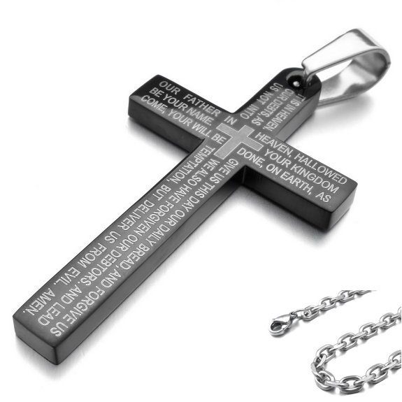 Lord's Prayer Inscribed Cross Necklace Only $5.84 Shipped!