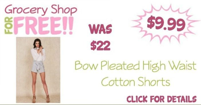 Bow Pleated High Waist Cotton Shorts Just $9.99! (Reg. $22) Ships FREE!