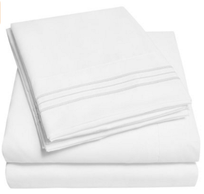 4 Piece White, Queen Size Bed Sheet Set With Deep Pockets Only $25! Down From $100!