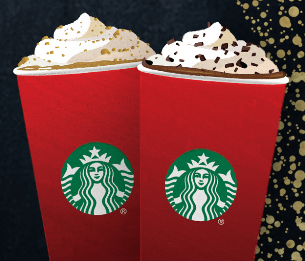 At Starbucks Through Sunday 2-5 PM - Buy One Holiday Drink Get One FREE!