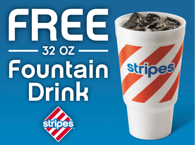 FREE 32 Oz. Fountain Drink At Stripes!