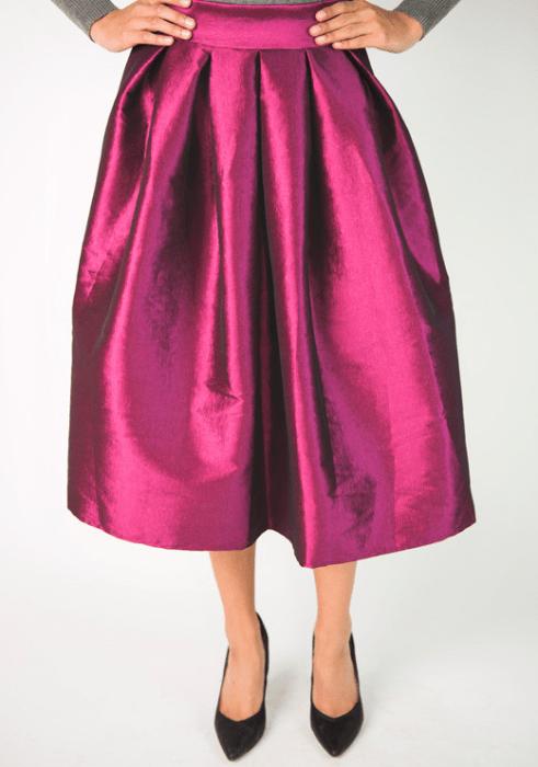 Taffeta Pleated Midi Skirt Just $39.95! Ships FREE!