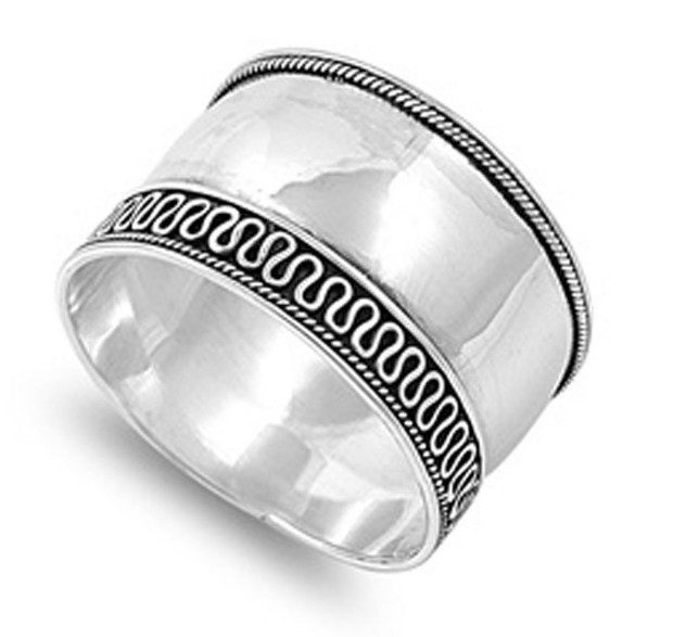 Sterling Silver Women's Wide Band Rope Swirl Ring Only $13.89 Ships FREE!