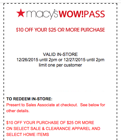 Macy's: Early Bird Sale (Until 2PM) 12/26 & 12/27!