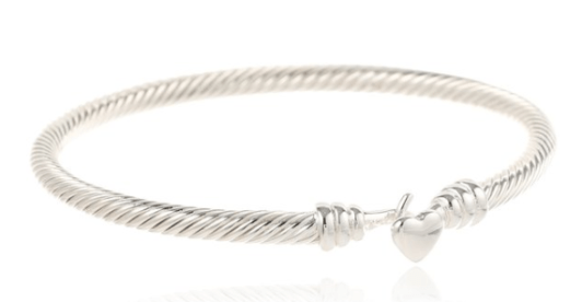 Gorgeous Sterling Silver Plated Heart Cable Bangle Bracelet Just $20.24 + FREE Prime Shipping (Reg. $50)!