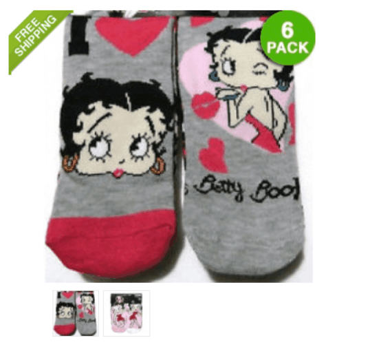 6 Pack of Ladies Betty Boop Ankle Socks ONLY $5.00 + FREE Shipping (WAS $15)!