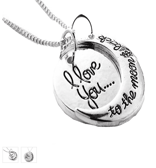 I Love You to the Moon & Back Engraved Pendant ONLY $8.99 + FREE Shipping (was $100)!