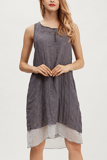 Gray Button-Aceent Layered Dress Only $34.99!